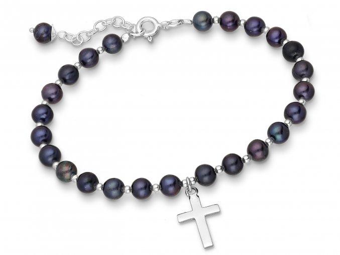 Náramek korálkový s tmavými perlami a přívěskem křížku