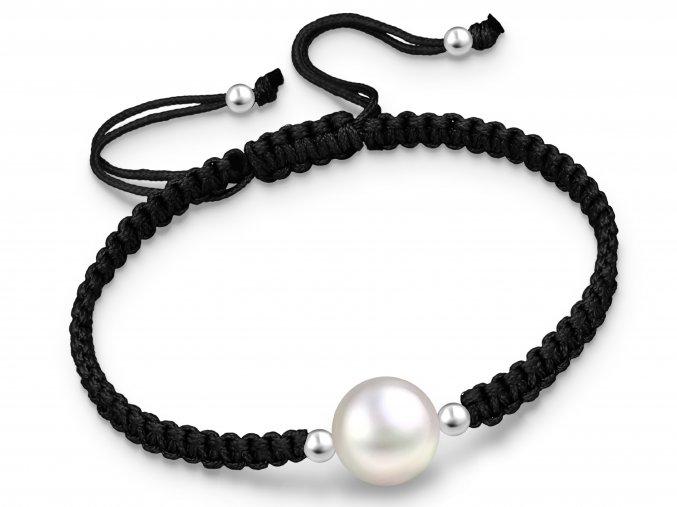 Šňůrkový náramek Perla & šňůrka černá