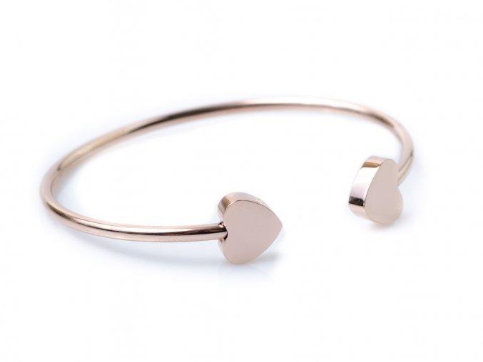 Náramek chirurgická ocel Pure heart rose gold