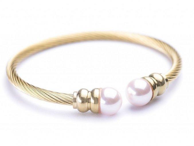 Náramek Pink Pearl gold Bangles