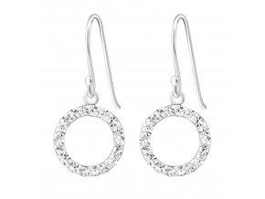 Stříbrné závěsné náušnice kruh a krystaly