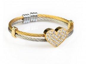 Náramek chirurgická ocel zlaté srdce