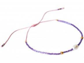 Náramek Purple korálkový