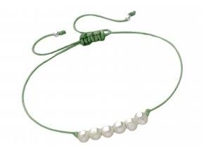 Šňůrkový náramek s perlami zeleny