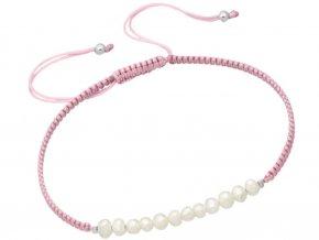 Šňůrkový růžový náramek s přírodními perlami bangles