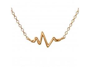 Stříbrný řetízek na krk rose gold srdeční puls