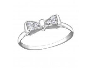 Stříbrný prsten mašle se zirkony