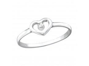 Stříbrný prsten se srdcem a zirkonem