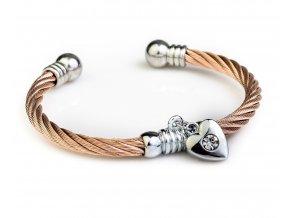 Náramek chirurgická ocel stříbrné srdce & zirkon bronz