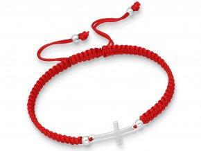 Náramek křížek na červené šňůrce