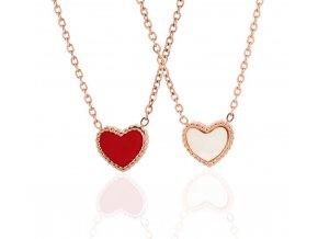 Řetízek červeno perleťové srdce rose gold