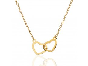 Řetízek Spojená Srdce zlatá stříbro 925