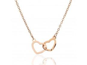 Řetízek Spojená Srdce rose gold stříbro 925