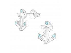 Náušnice Kotva s krystaly & nylonová šňůrka