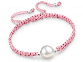 Šňůrkový náramek Perla & šňůrka růžová