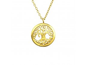 Stříbrný řetízek s medailonkem stromu života pozlacený 18k zlatem