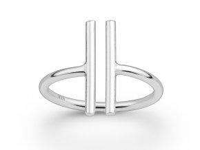 Prsten Linea ve tvaru dvou T stříbrný