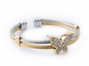 Náramek chirurgická ocel zlatý motýlek