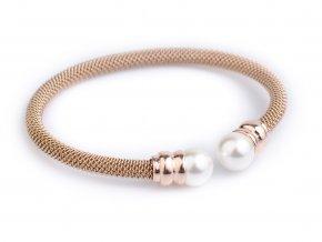 Naramek chirurgicka ocel Moon pearl rose gold