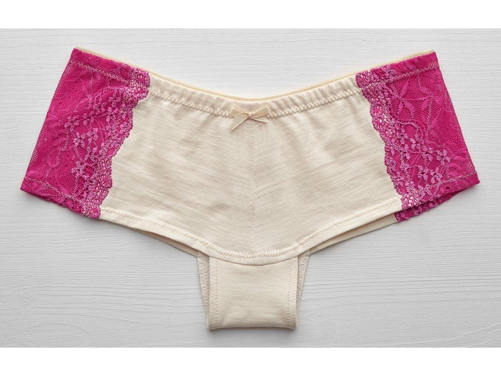 kalhotky francouzské Bio bavlna růžová krajka na boku předek 1800pix