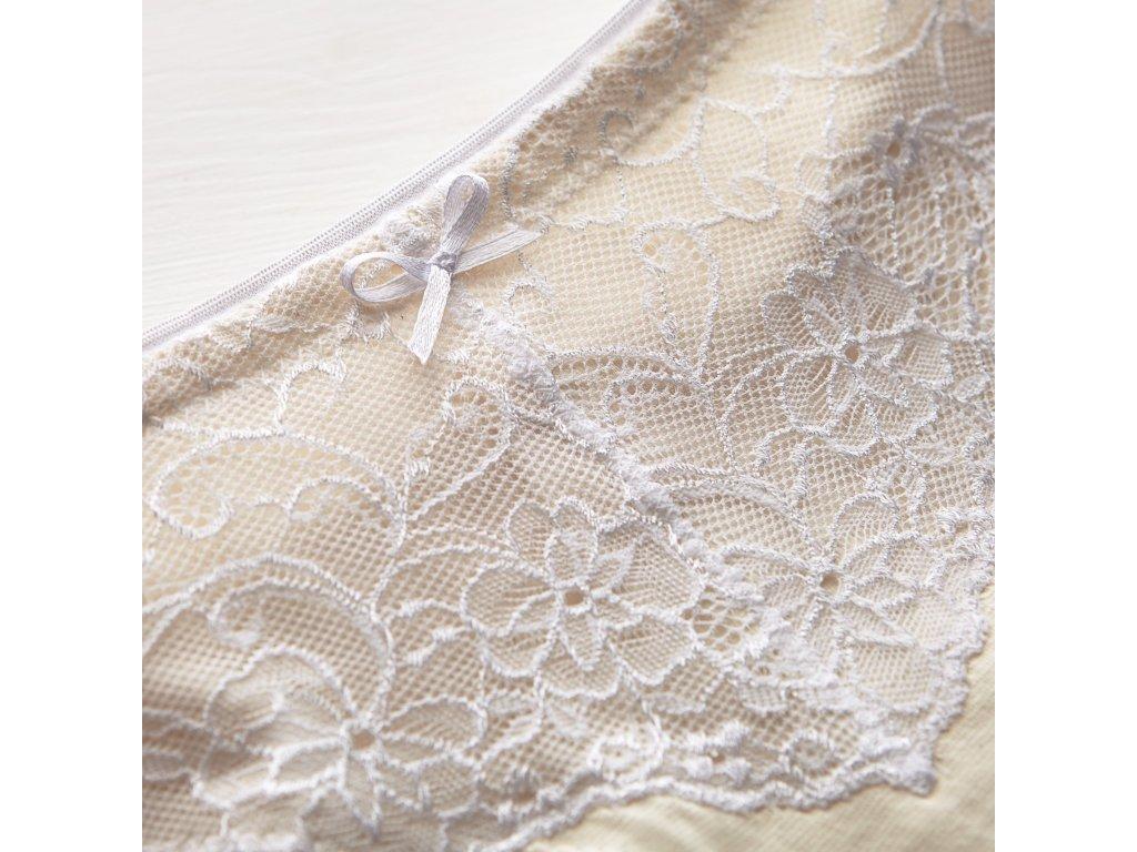 Brazilské kalhotky z nebarvené Bio bavlny s bílou krajkou