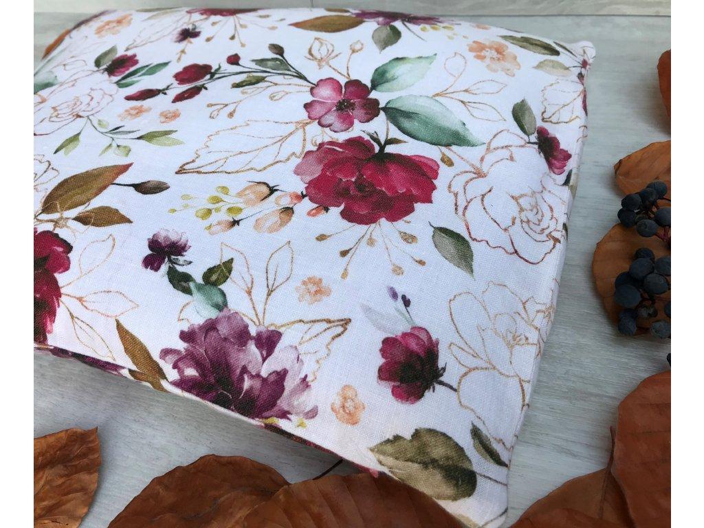 Lněný pohankový polštář bílý s levandulí - květy