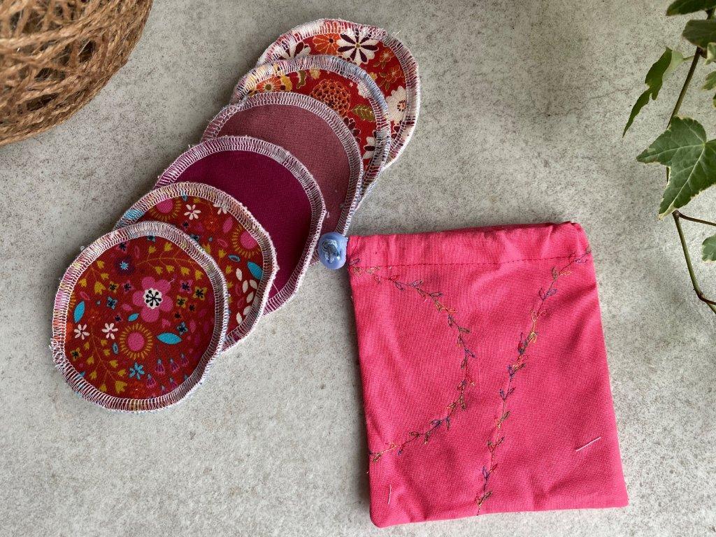 Odličovací tampony - varianty růžové s výšivkou