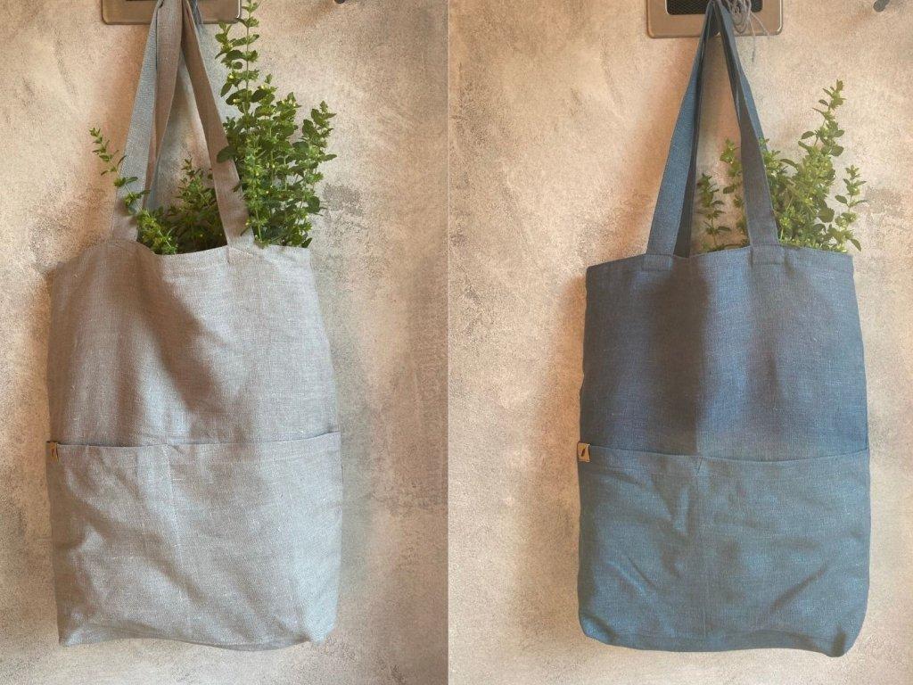 Lněné tašky s kapsami