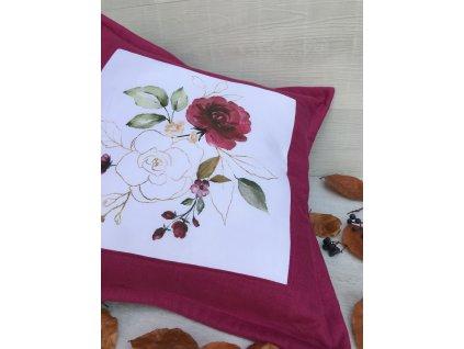 Lněný polštář s květy