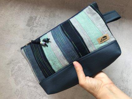 Kosmetická taška - pouzdro - velká lněná