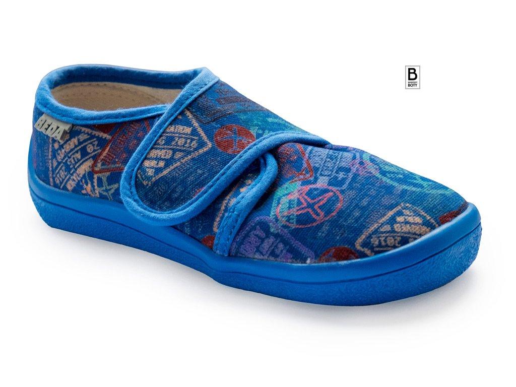 barefoot boty beda plátenky modre