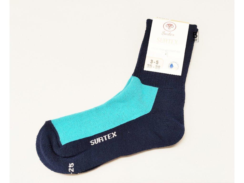 Ponožky Surtex 80% merino pro dospělé SPORT tyrkysové