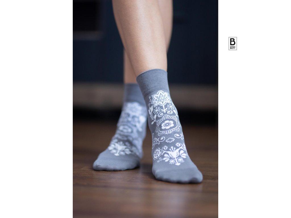 barefoot ponozky folk sive be lenka
