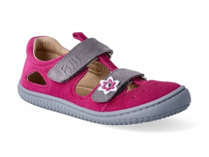 barefoot sandály filii barefoot kaiman velcro velours pink grey