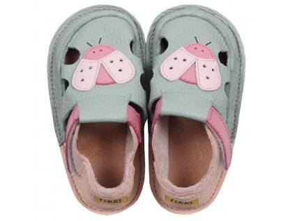 barefoot kids sandals green ladybug