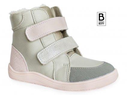 Zimní boty baby bare shoes winter grey pink
