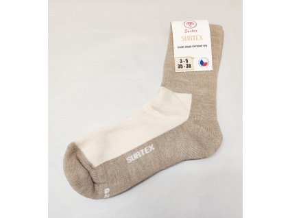 Ponožky Surtex 80% merino pro dospělé - volný lem béžové