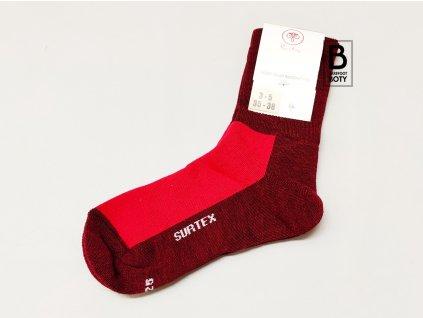 Ponožky Surtex 80% merino pro dospělé - volný lem červené