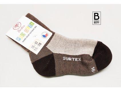 Dětské ponožky Surtex 80% merino Aerobic hnědé