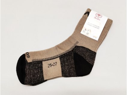 Ponožky Surtex 95% Merino froté pro dospělé béžové