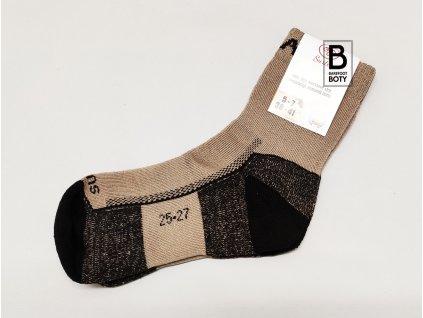 Ponožky Surtex 95% Merino froté pro dospělé ZIMA béžové