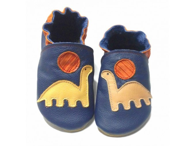 Capáčky Tomar - tmavě modré s dinosaurem, bez podšívky s gumovou podrážkou