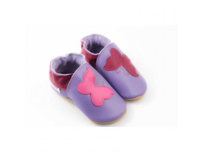 Capáčky Tomar - fialové s motýlky, bez podšívky s gumovou podrážkou