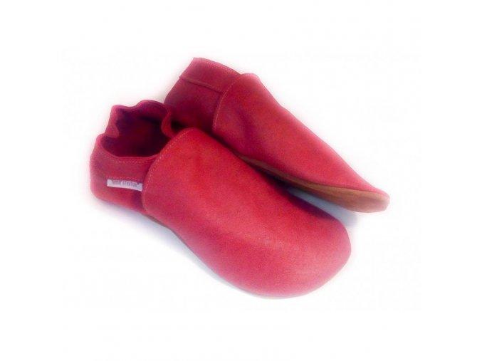 Capáčky Tomar - červené, bez podšívky s gumovou podrážkou
