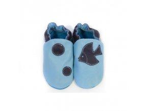 Capáčky Tomar - světle modré s rybkou, bez podšívky s gumovou podrážkou