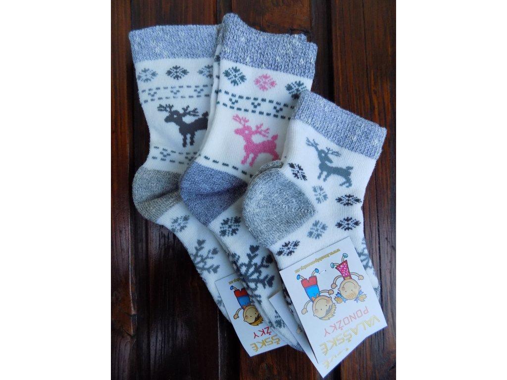 Zimní ponožky vlněné/froté jelen
