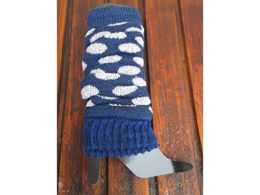 Zimní dámské návleky modré s puntíky