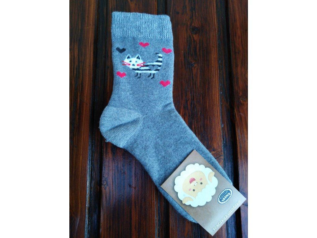 Zimní dětské ponožky froté kočička