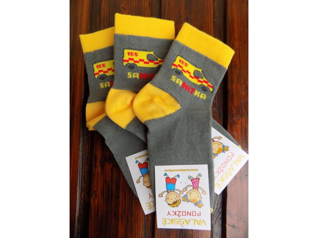 Celoroční dětské ponožky bavlněné pro kluky sanitka