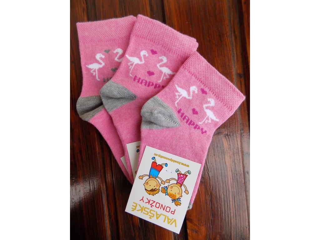 Celoroční dětské ponožky bavlněné pro holky plameňáci